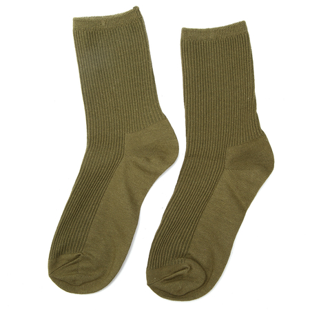 Army Green Ribbed Socks