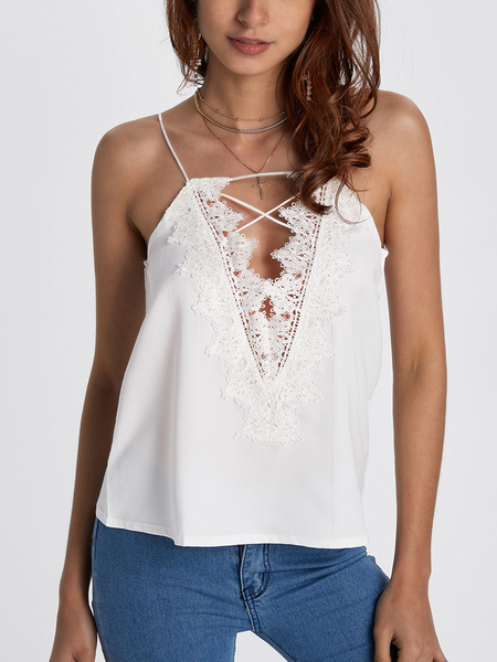 White Lace-up Design V-neck Sleeveless Cami