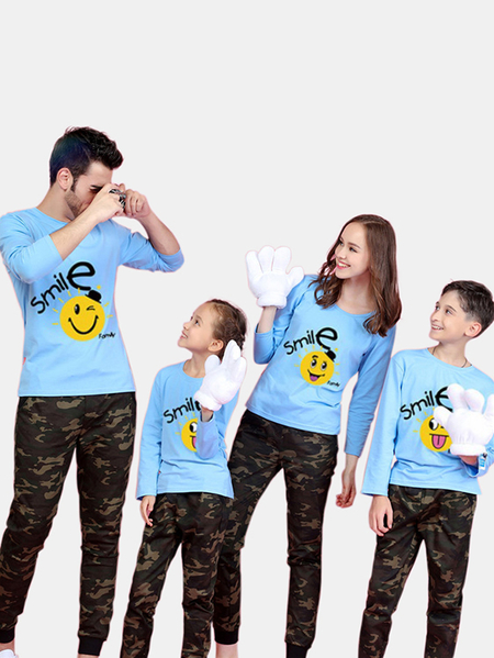 Family Look Round Neck Printed Design Matching Tops in Blue