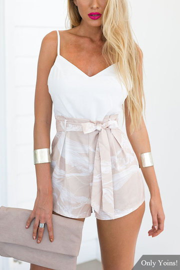 Motivo Backless casuale floreale Tie fissaggio sexy Playsuit