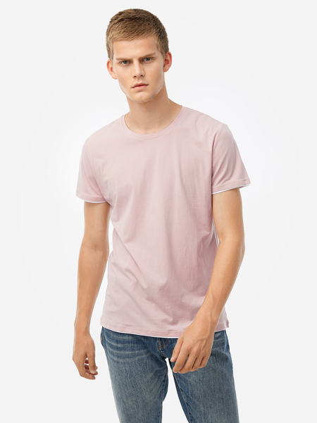 Pink Fake Two Pieces Round Neck Short Sleeve Men's T-Shirt