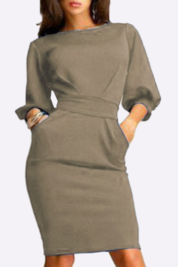 Apricot Round Neck Lantern Sleeves Dress With Drawstring Belt