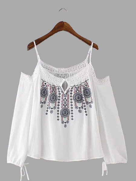 White Cold Shoulder Embroidery Long Sleeve Cami Top with Tie Detail