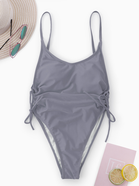 Grey Spaghetti Backless Lace-up Design Swimwear