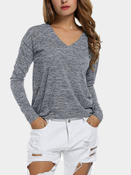 Basic Style Grey V Neck Long Sleeves Loose T-shirt
