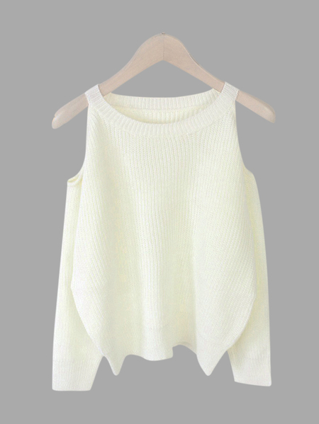 White Cold Shoulder Long Sleeves Sweater