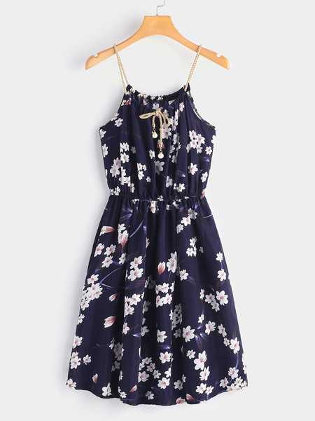 Navy Adjustable Neckline Random Floral Print Spaghetti Strap Dress