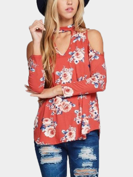 Rust Cutout Front Floral Print Cold Shoulder Blouse