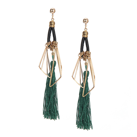 Green Vintage Long Tassel Earrings