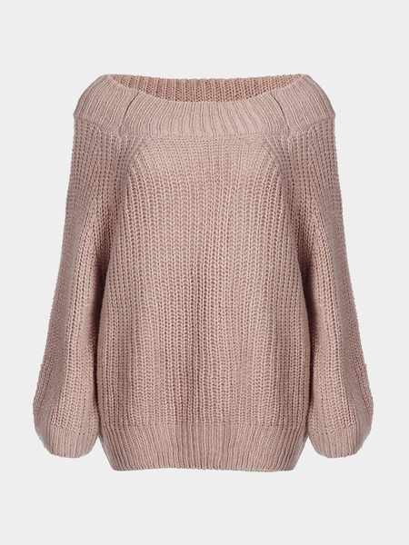 Classic Pale Pinkish Grey Off Shoulder Long Sleeves Knit Sweater