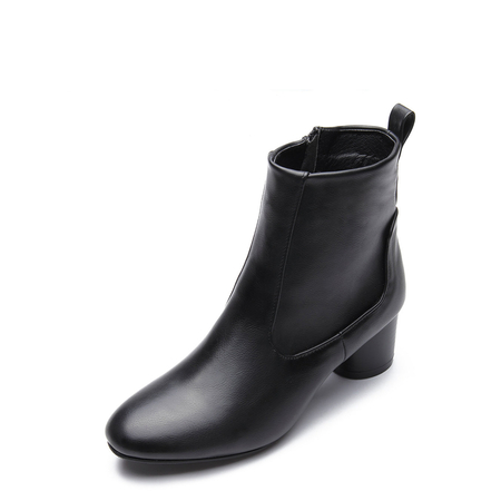 Black Leather-look Short Boots with Side Zipper Design