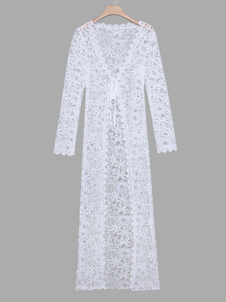 White Crochet Lace Embellished Long Sleeves Beachwear