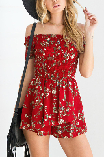 Red Off-the-shoulder Random Floral Printed Mini Dress