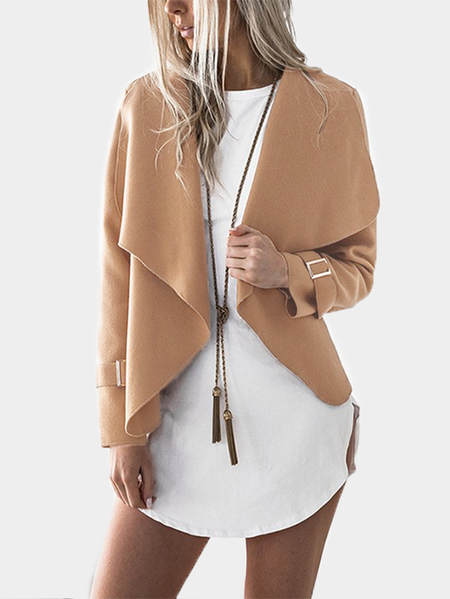 Camel Plain Lapel Collar Long Sleeves Woolen Coat