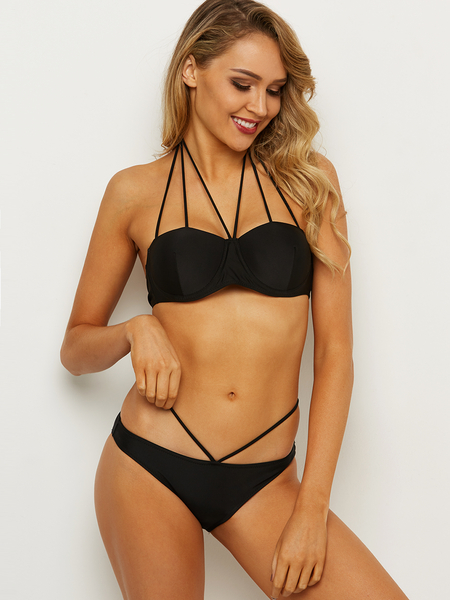 Black Halter Lace-up Design With Underwire Bikini
