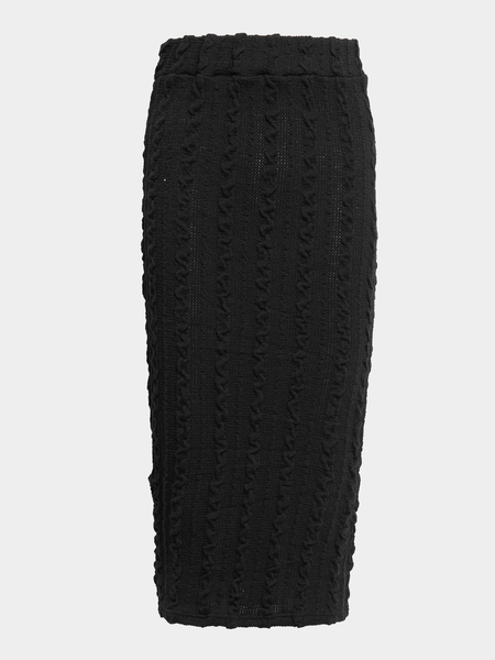Black High-waisted Threaded Detail Pencil Skirt