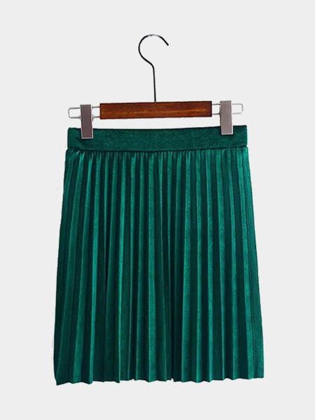 Dark Green Velvet Mini Pleated Skirt