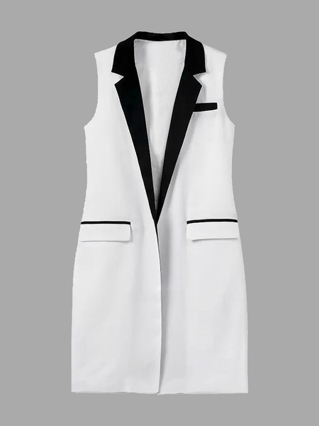 Petite Contrast Detail Sleeveless Gilet in White