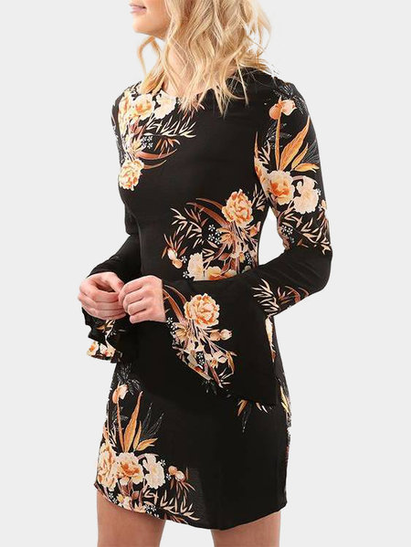 Black Random Floral Printed Long Sleeves Mini Dress