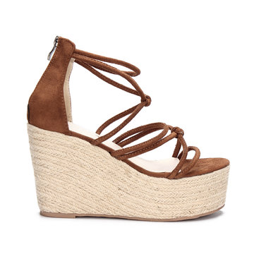 Brown Suede Look Cross Straps Wedge Sandals