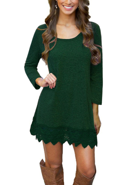 Army Green Casual Round Neck Long Sleeves Lace Scallop Hem Mini Dress
