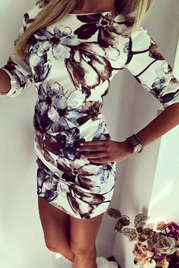 Random Floral Print One Shoulder Dress