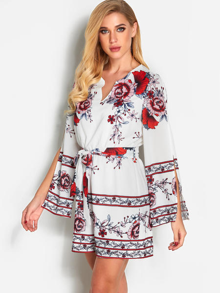 White Floral Print Cut Out Sleeves Fashion Playsuit