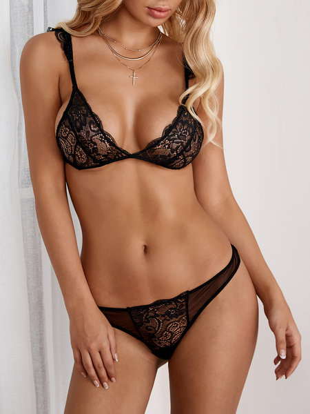 Black Sexy Lace Detail Lingerie Set