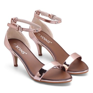 Rose One Strap Across Pin Buckle Closure Sandales à talons simples