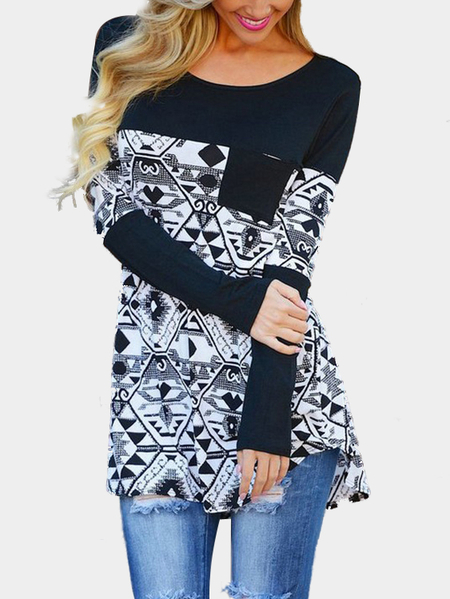Fashion Geometrical Pattern Long Sleeves Top
