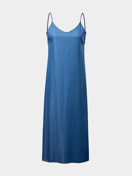 Loose Backless Denim Cami Maxi Dress