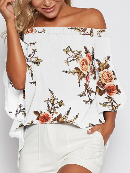 Random Floral Print Off Shoulder Splited Blouse in White