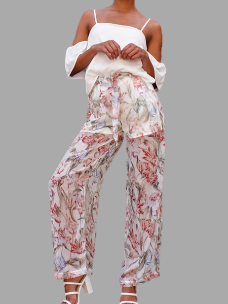 See Through Random Floral Print Wide Leg Trousers