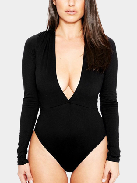 Black Sexy Bodycon V-neck Long Sleeves Bodysuit