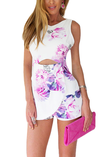 Floral Playsuit With Cut Out Details