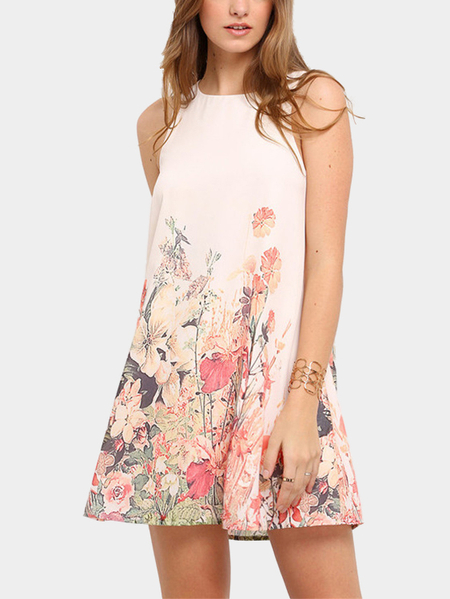 Random Floral Print Sleeveless Mini Dress in White
