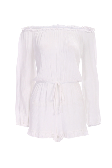 Semi Sheer Off Shoulder Playsuit with Drawstring Waist