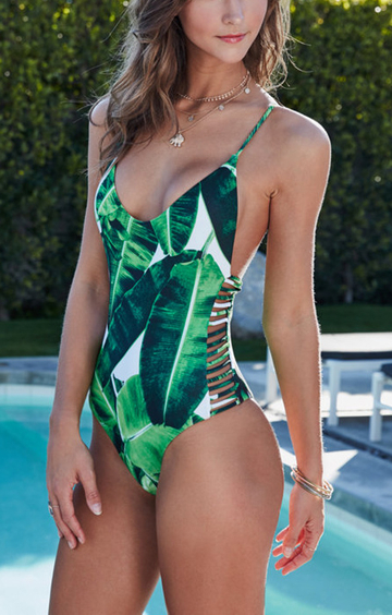 Random Floral Print Cut Out Design Swimwear