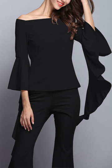 Black Off Shoulder Flared Sleeves Zipper Back Design Blouse