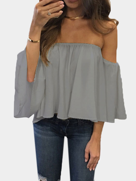 Grey Sexy Off Shoulder Loose Fit Blouse