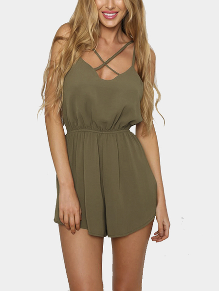 Crossover Strap Front Elastic Waistband Back Button Clasp Playsuit