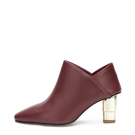 Red Leather-look Ankle Boots with Golden heel