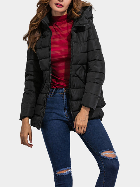 Black Fashion Side Pockets Hoodie Quilted Outerwear