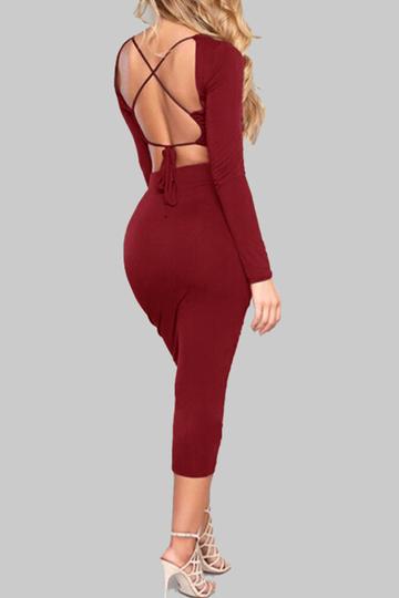 Burgundy Backless Design Long Sleeves Crop Top & Midi Skirts