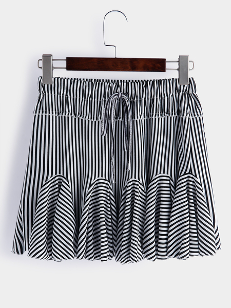 Black Lace-up Design Stripe Drawstring Waist Ruffle Hem Mini Skirts