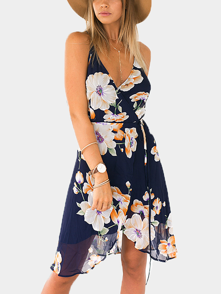 Front Floral Print Wrap Backless Sleevesless Midi Dress