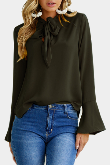 Blackish Green Self-cravate Design Bell manches Blouse en mousseline de soie