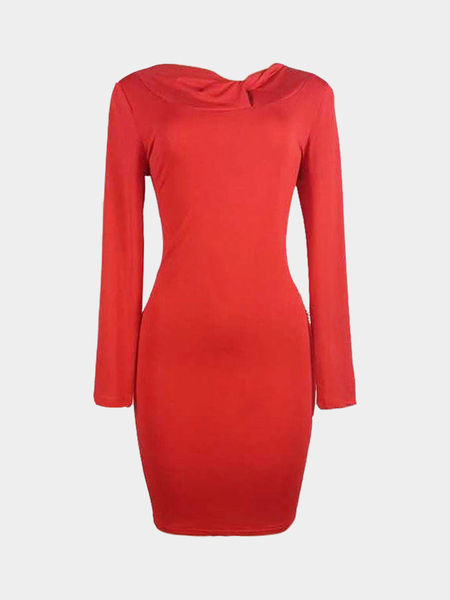 Twisted Neck Bodycon Kleid