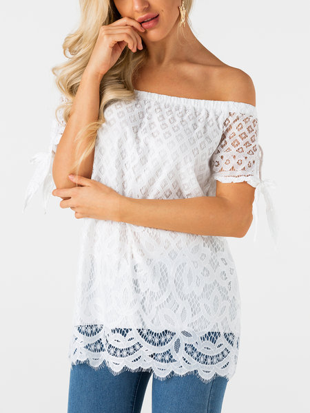 White Lace Details Off The Shoulder Short Sleeves Top