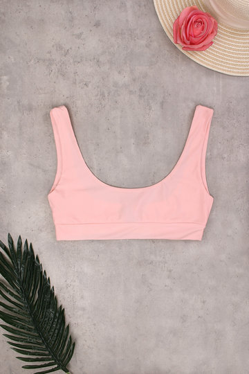 Pink Sexy Scoop Neck Bikini Top